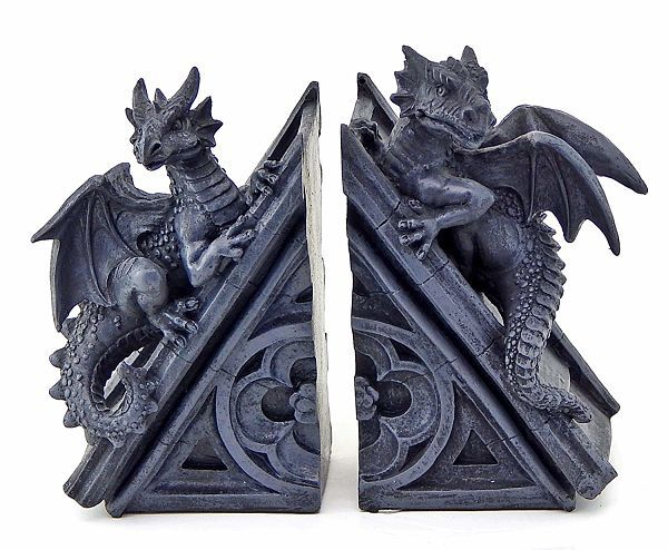 Gothic castle dragon bookends