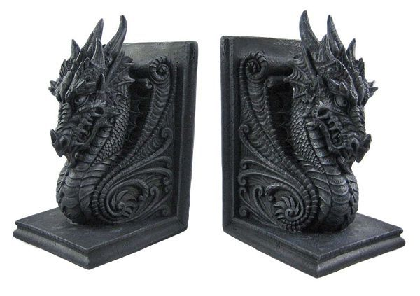 Gothic dragon bookends