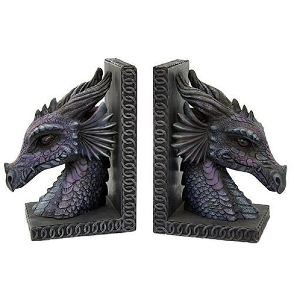 Gothic purple dragon bookends