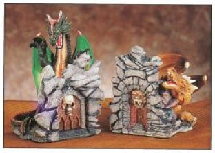 Green and gold dueling dragon bookends