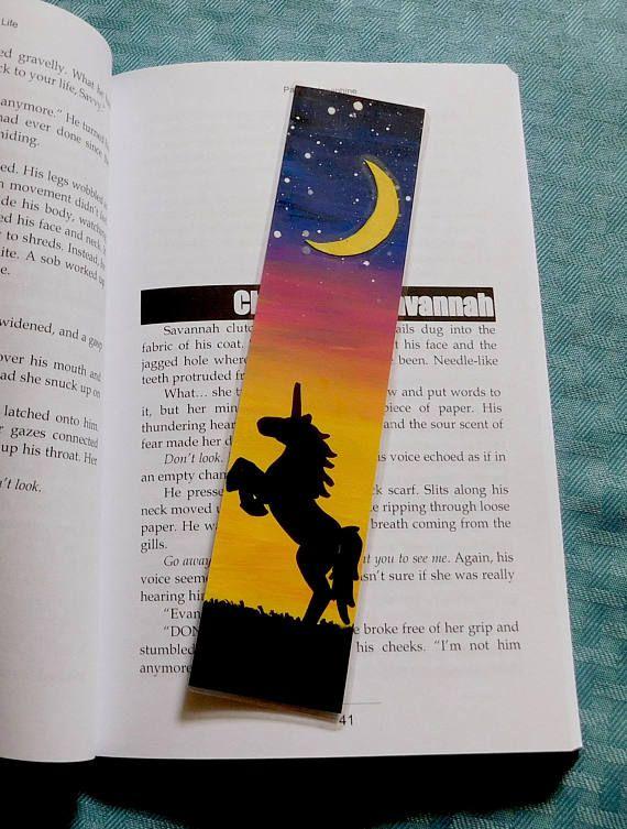 hand painted unicorn bookmark