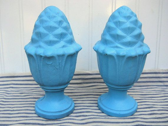 Turquoise painted pineapple bookends
