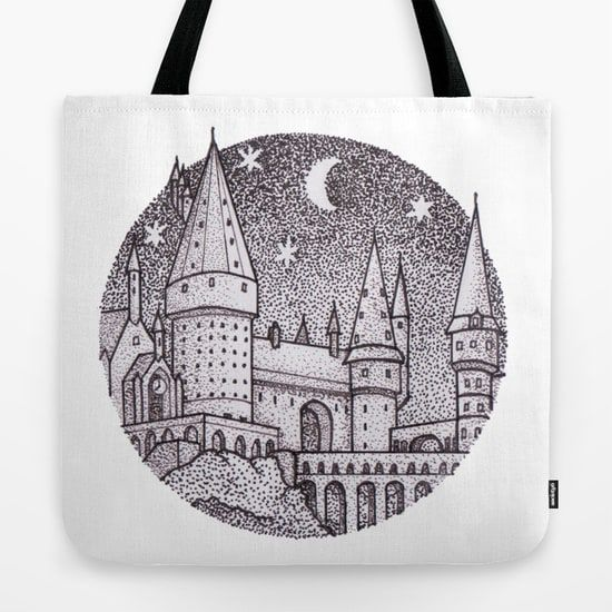 Harry Potter book bags Hogwarts black and white sketch