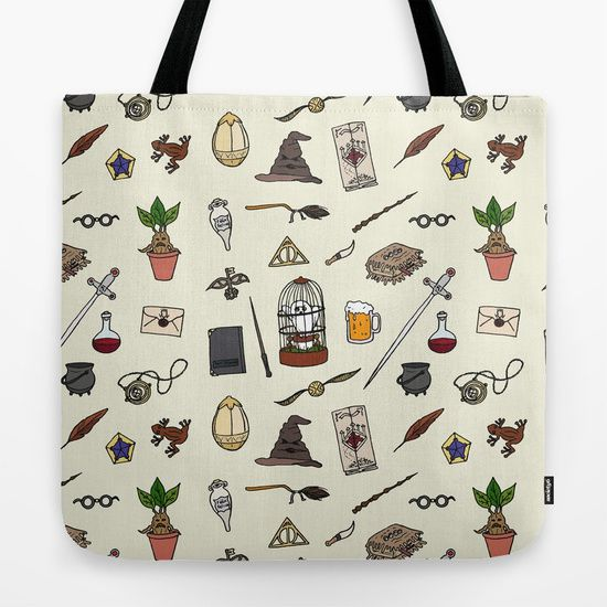 Harry Potter illustrated icons pattern book bag