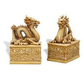Ivory dragon bookends