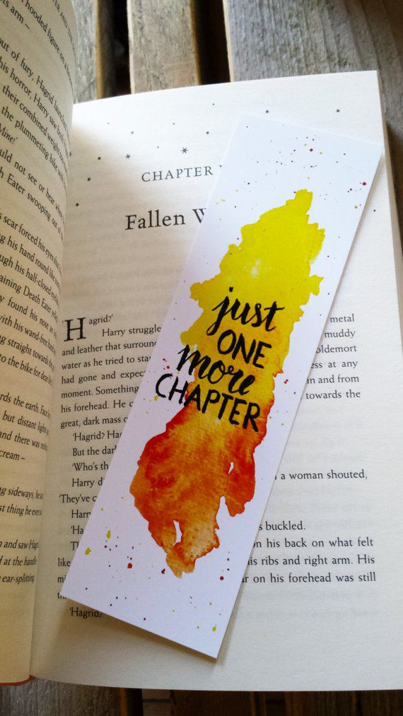 """watercolor bookmark saying """"just one more chapter"""""""