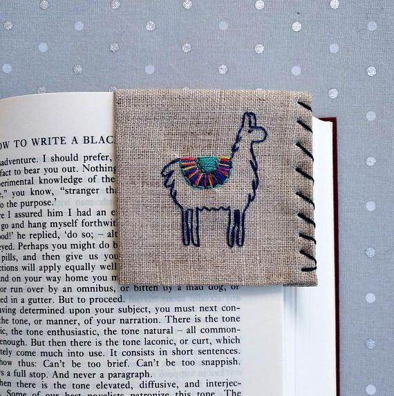 Hand embroidered corner llama bookmark
