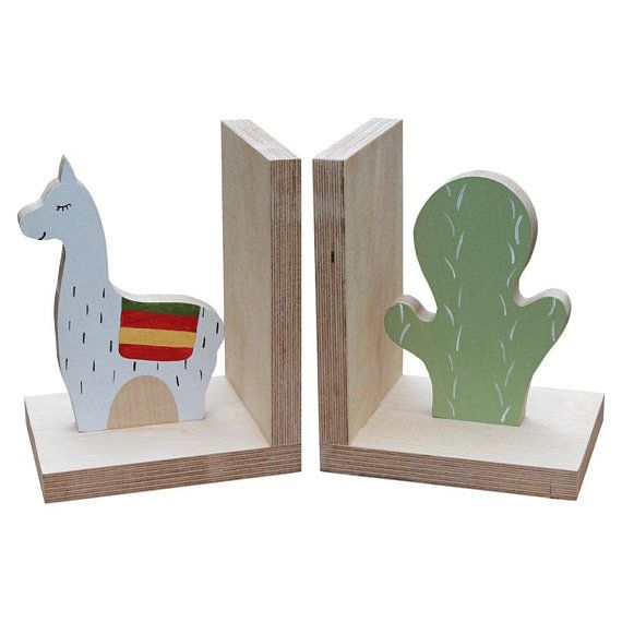 llama and cactus bookends