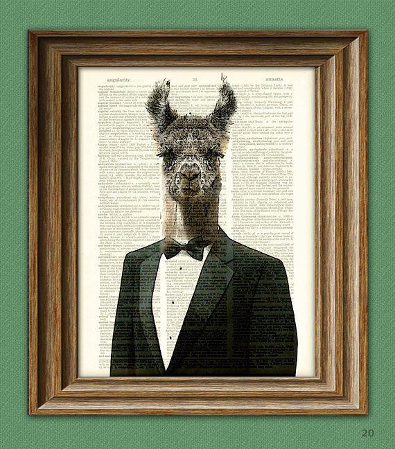 llama dictionary page art