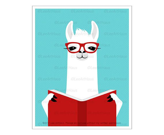 llama with a book print