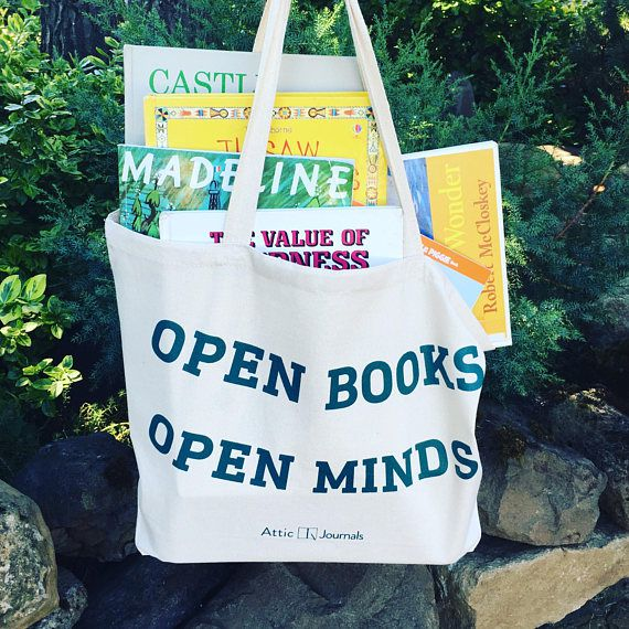 open books open minds book tote bag