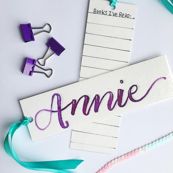 personalized watercolor bookmark