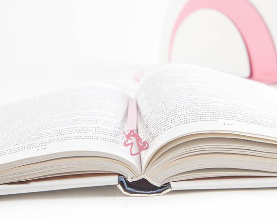 pink metal unicorn bookmark