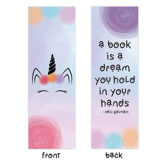 unicorn bookmark with quote