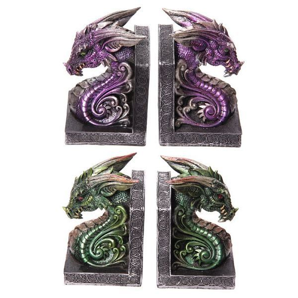 Purple or green dragon head bookends