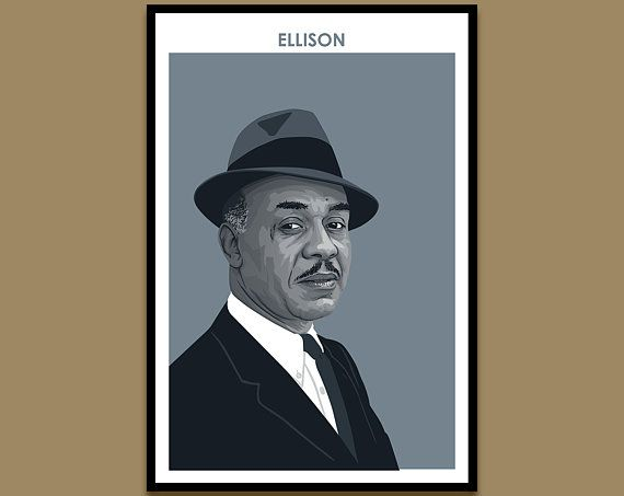 "A framed poster against a tan wall. The poster shows an illustrated portrait of author Ralph Ellison, in a monochromatic blue color palette. At the top of the print, ""Ellison"" is printed in blue text."