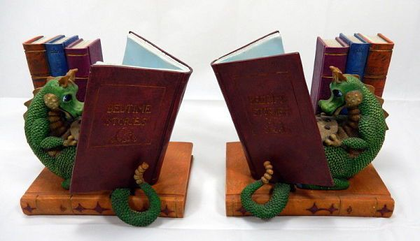 Reading dragon bookends