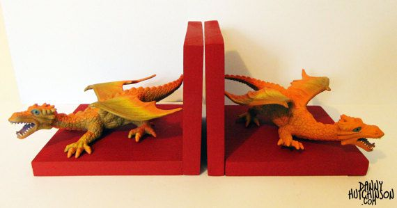 Red and orange dragon bookends