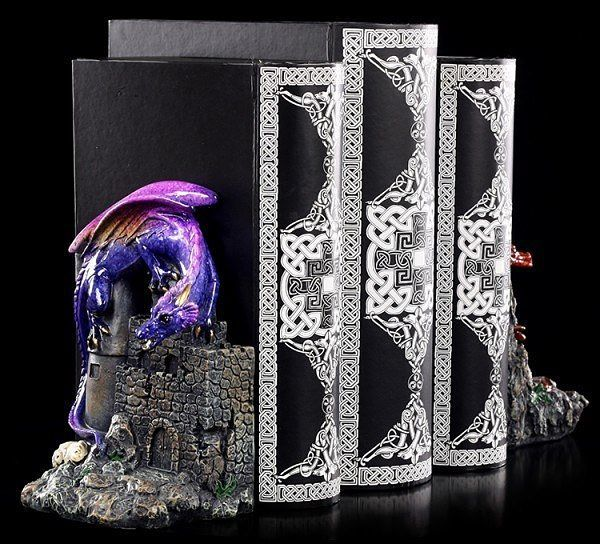 Red and purple glazed dragon bookends