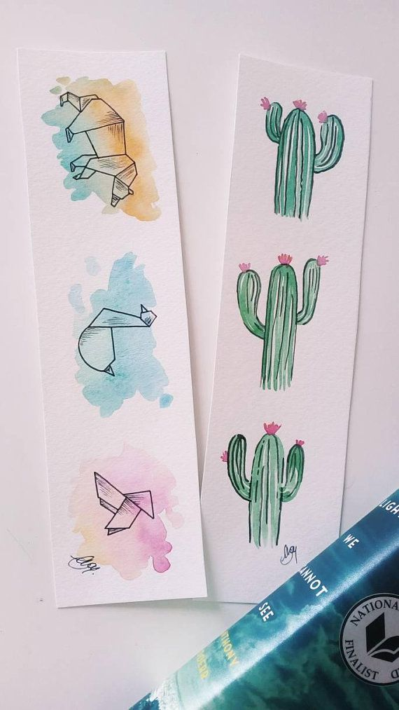 origami animals and cacti bookmarks