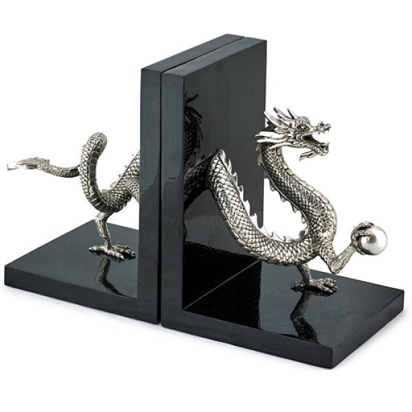 Silver-plated dragon bookends