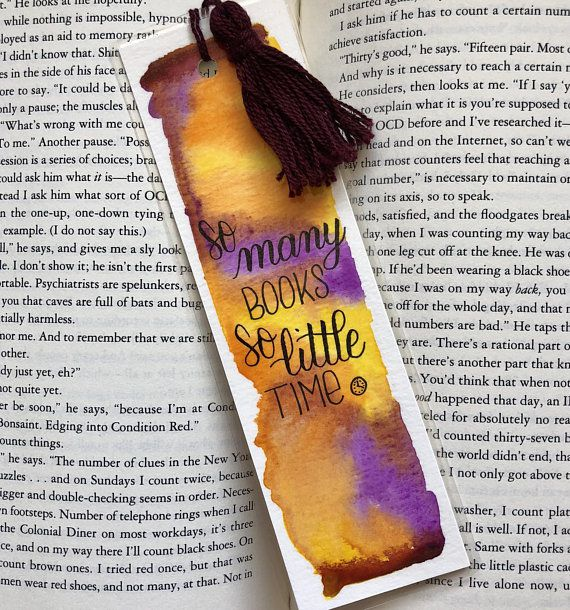 so many books, so little time watercolor bookmark