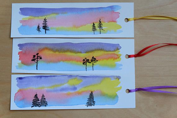 sunset watercolor bookmarks
