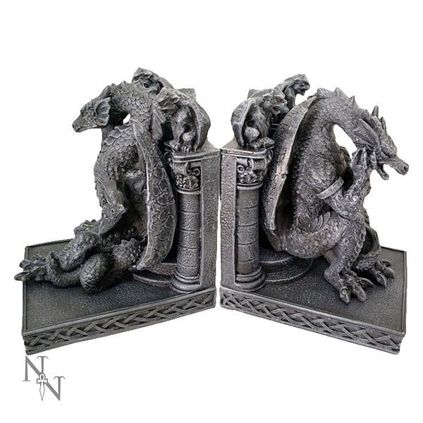Thinking gothic dragon bookends