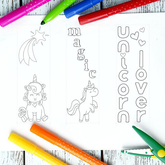 unicorn bookmarks to color