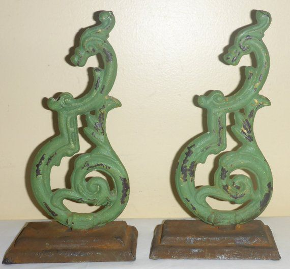 Vintage cast iron dragon bookends