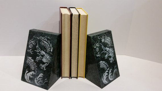 Vintage stone etched dragon bookends