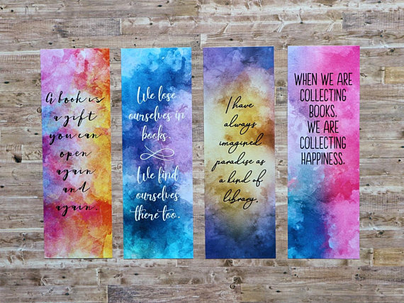 handmade watercolor bookmarks to buy to make and to print