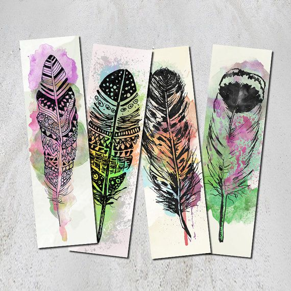 downloadable feather bookmarks