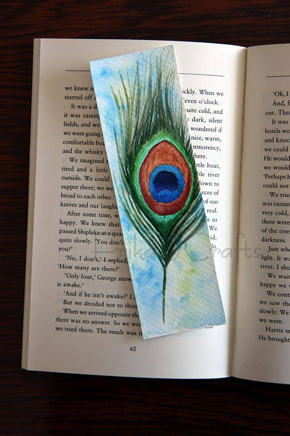 watercolor bookmark with peacock feather
