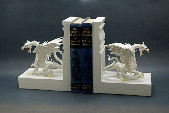 Snow white dragon bookends