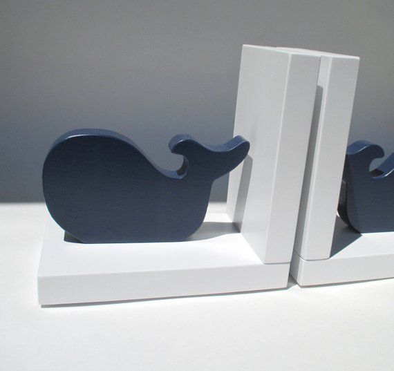 blue whale bookends on white base