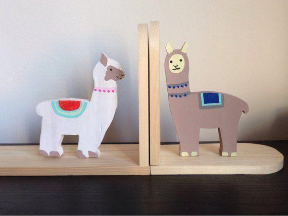 wooden llama bookends