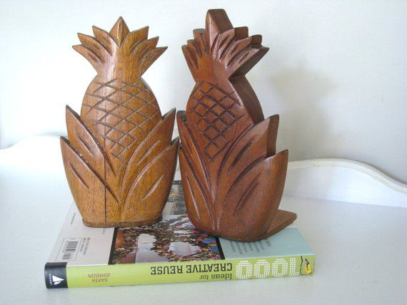 wooden pineapple bookends