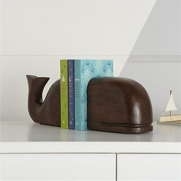 dark brown wooden whale bookends