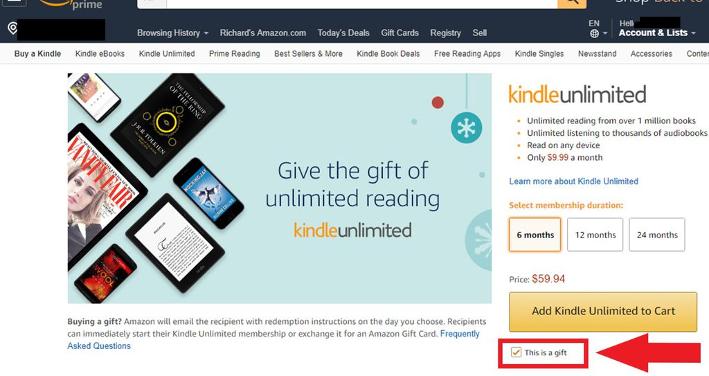 How To Give A Kindle Unlimited Gift To Your Favorite Reader | Book Riot
