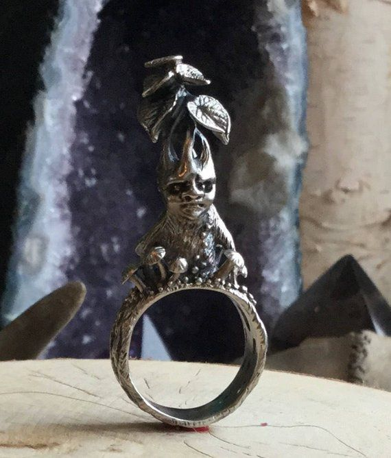 Harry Potter Sterling Silver Mandrake Root Ring Etsy