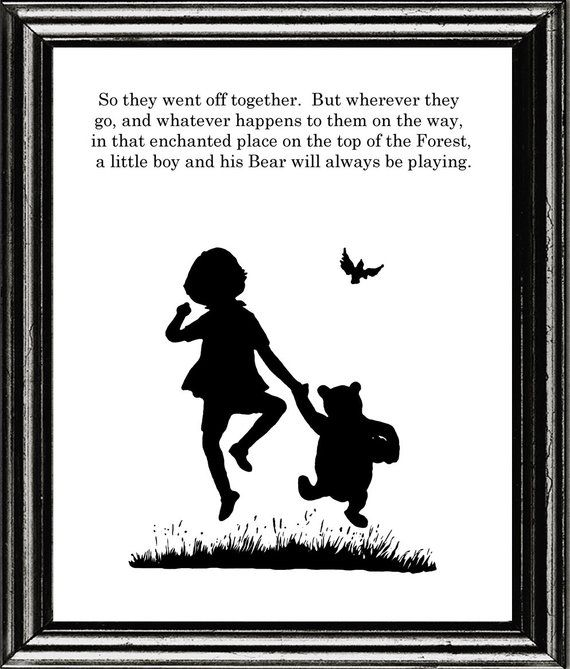 Winnie the Pooh and Christopher Robin quote and print