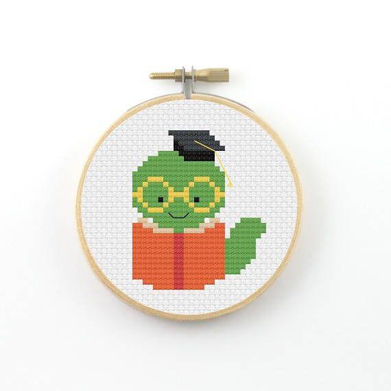 Bookworm cross stitch pattern