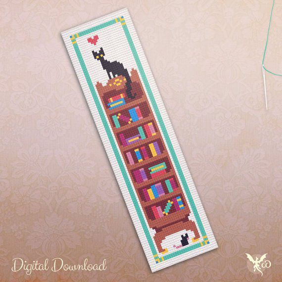 cats and books bookmark
