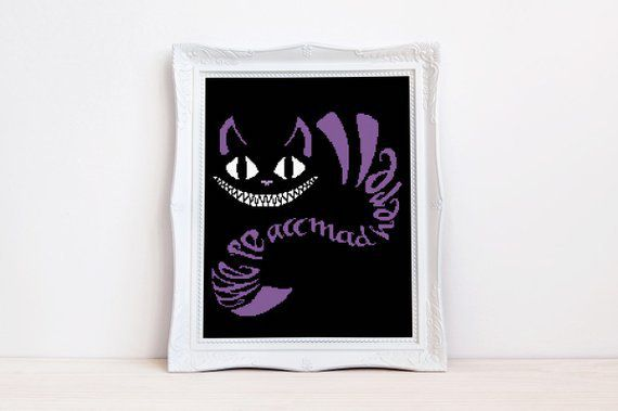 Cheshire cat cross stitch pattern