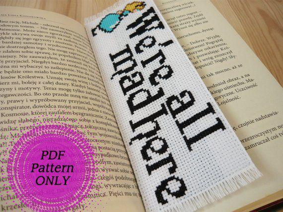 Alice in Wonderland cross stitch bookmark