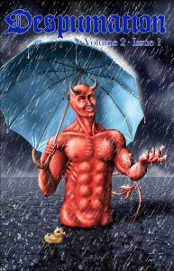 Despumation volume two cover (red devil holding umbrella in rain with yellow rubber ducky floating by)