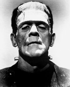 black and white image of frankenstein's monster as portrayed by Boris Karloff