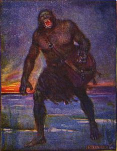 Painting of literary monster Grendel from Beowulf walking in the snow, literary monsters
