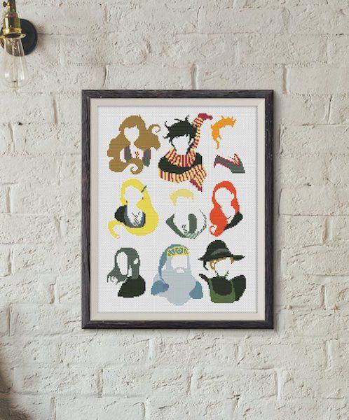 Harry Potter characters cross stitch pattern
